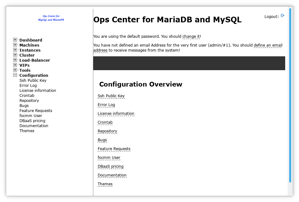 The Ops Center Configuration Menu